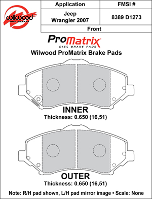 Wilwood Brake Pad Plate #D1273
