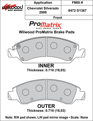 Wilwood Brake Pad Plate #D1367