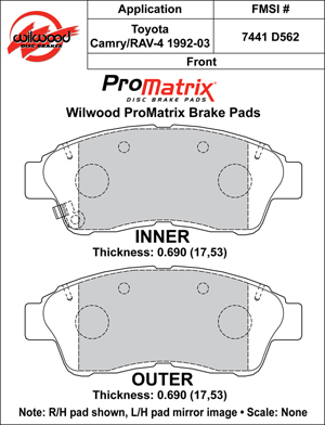 Wilwood Brake Pad Plate #D562