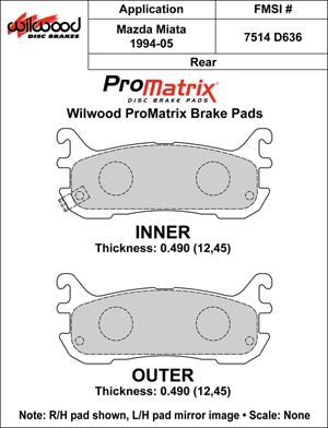 Wilwood Brake Pad Plate #D636