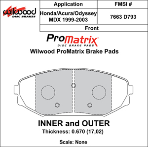 Wilwood Brake Pad Plate #D793