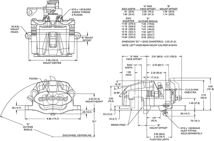 Dimensions for the Combination Parking Brake