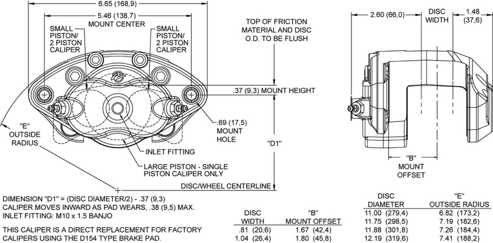 Dimensions for the D154 Single & Dual Piston Floater