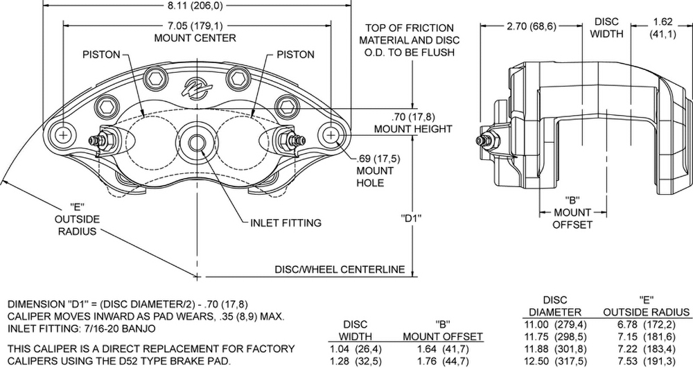 Dimensions for the D52 Dual Piston Floater