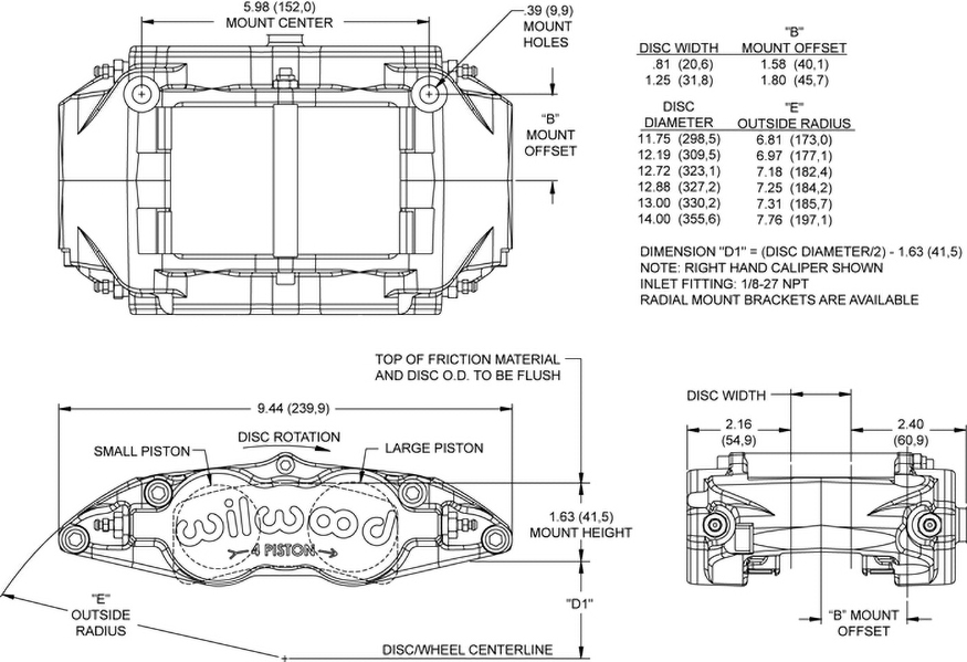 Dimensions for the Forged Superlite 4 Radial Mount