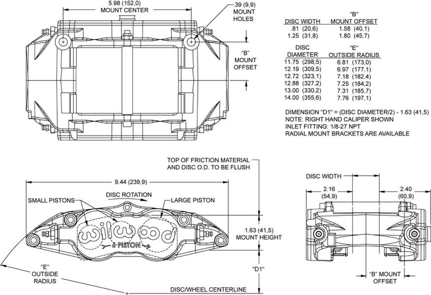 Dimensions for the Forged Superlite 6 Radial Mount