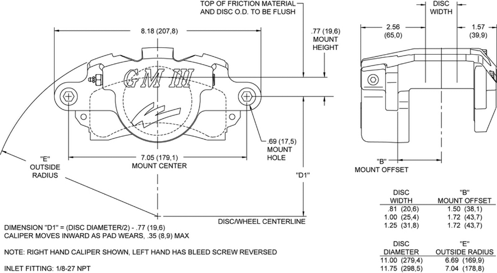 Dimensions for the GM III Single Piston Floater