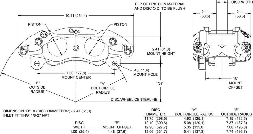 Dimensions for the GNX5 Caliper
