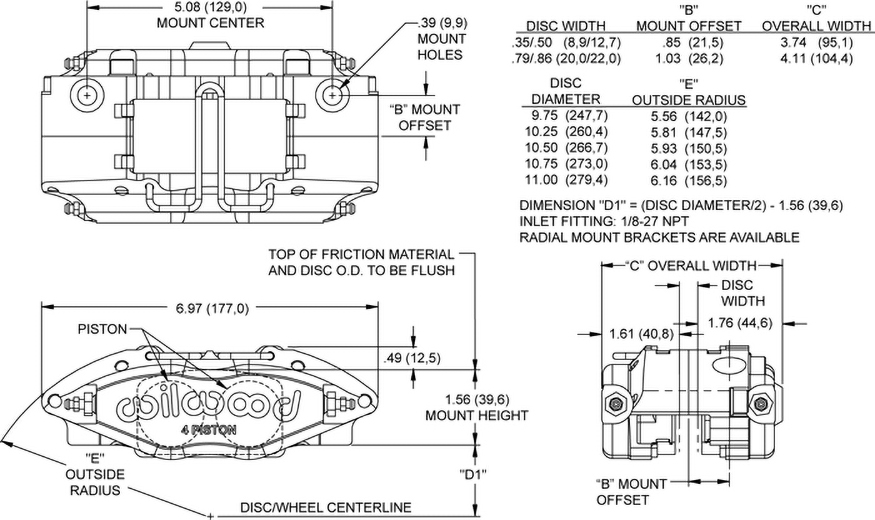 Dimensions for the Powerlite Radial Mount