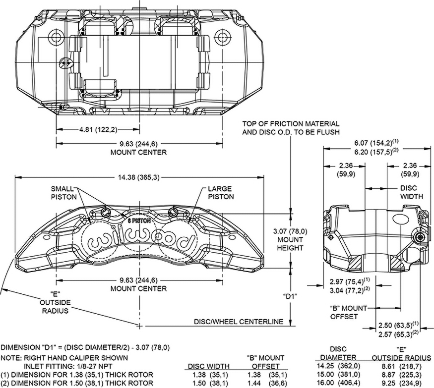 Dimensions for the TX6R Forged Radial Mount