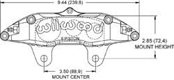 Dimensions for the Billet Narrow Superlite 6 Lug Mount