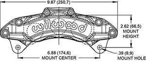 Dimensions for the AT6 Lug Mount