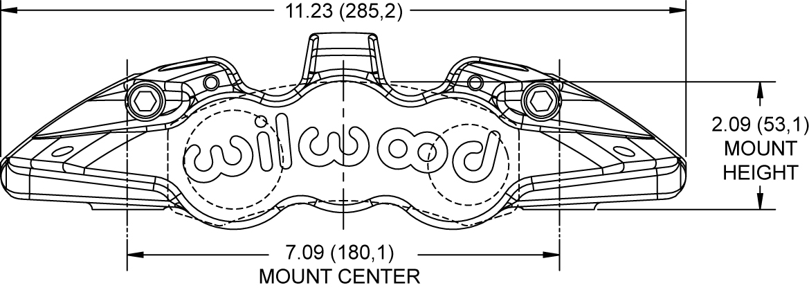 Dimensions for the Aero4-DS Radial Mount