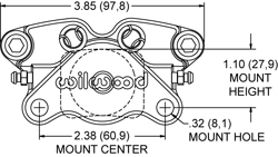 Dimensions for the GP200 Caliper