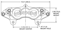 Dimensions for the D8-4 Caliper Rear