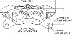 Dimensions for the Dynapro Lug Mount Low-Profile