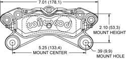 Dimensions for the Forged Dynapro Lug Mount Low-Profile