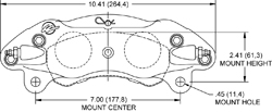 Dimensions for the GNX4 Caliper