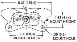 Dimensions for the GP320 Caliper