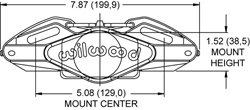 Dimensions for the Powerlite 2R Radial Mount