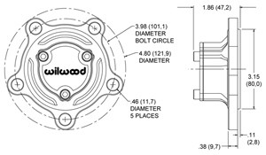Starlite 55 Drive Flange  Side View Drawing