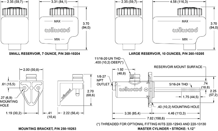 Compact Remote Flange Mount Master Cylinder Drawing