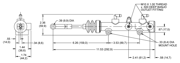 Wilwood Tandem Master Cylinder (TM1) Drawing