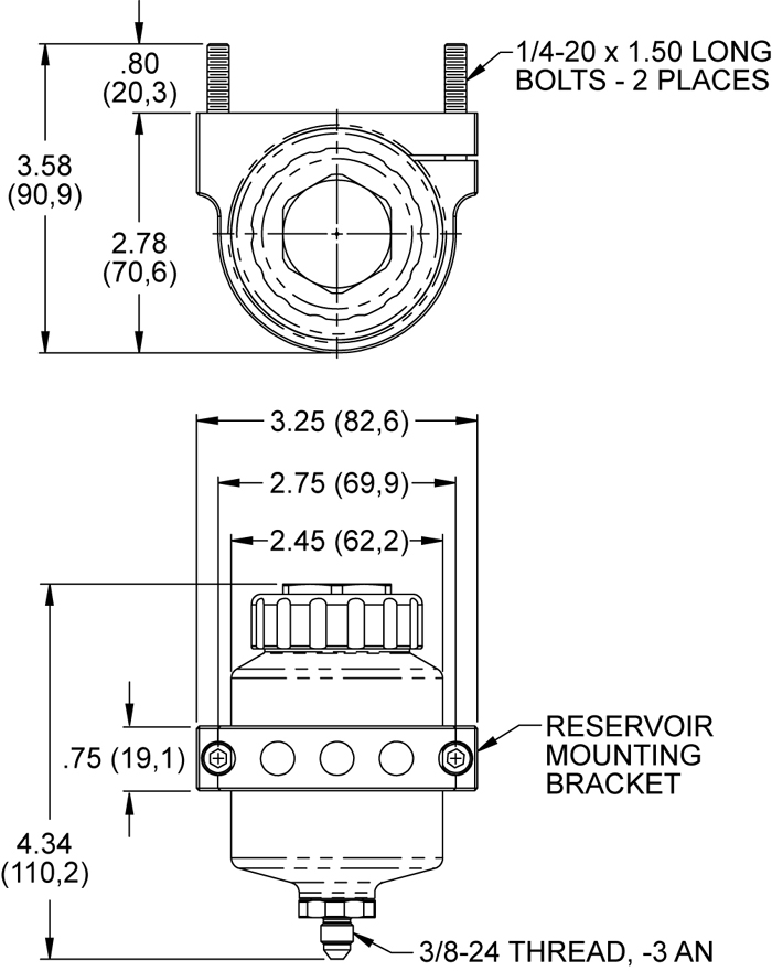 Reservoir Kit w/ Bracket Drawing