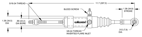Wilwood Slave Cylinder Drawing