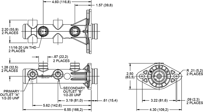 Wilwood Remote Tandem Master Cylinder Drawing