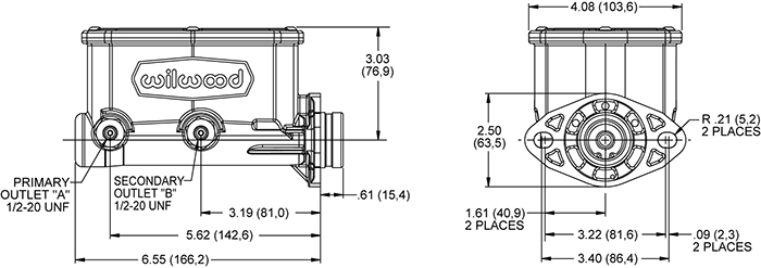 Wilwood Compact Tandem Master Cylinder Drawing