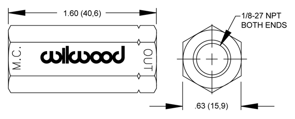 Wilwood Residual Pressure Valve Drawing