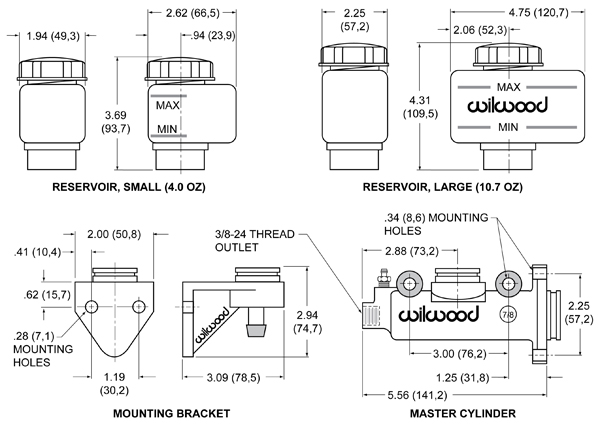 """Wilwood 260-3380 Combination Remote Master Cylinder Kit 1-1//8/"""" Bore Size"""
