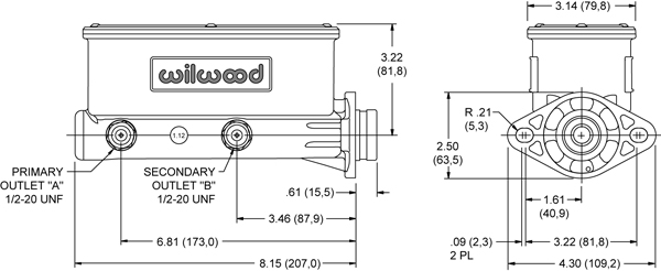 "Wilwood 260-8556-P Aluminum Tandem Master Cylinder 1-1//8/"" Bore Size"
