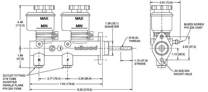 Wilwood Tandem Remote Master Cylinder Drawing