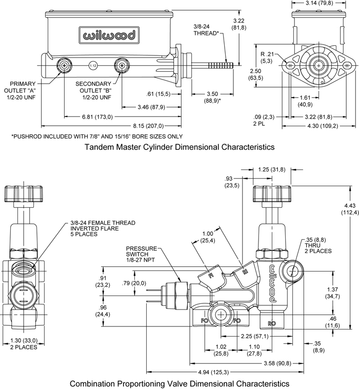 Wilwood Aluminum Tandem M/C Kit with Bracket and Valve Drawing