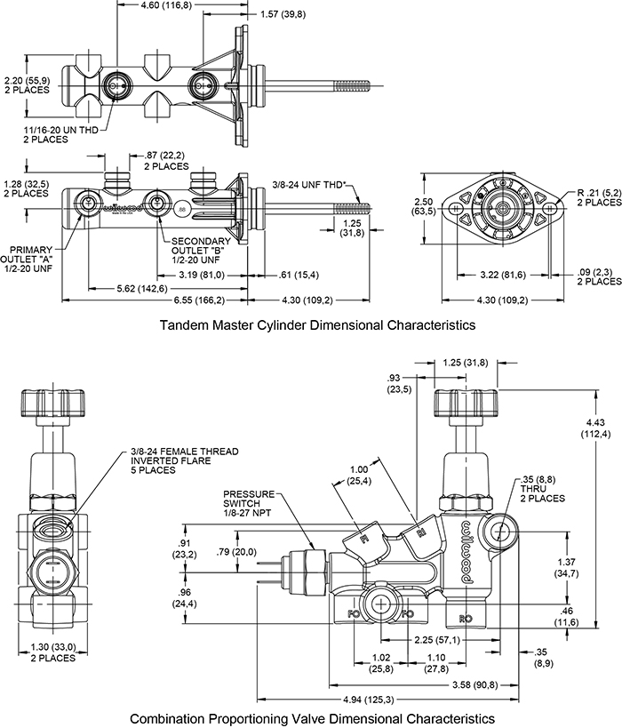 Wilwood Remote Tandem M/C Kit w/Pushrod, Bracket and Valve Drawing