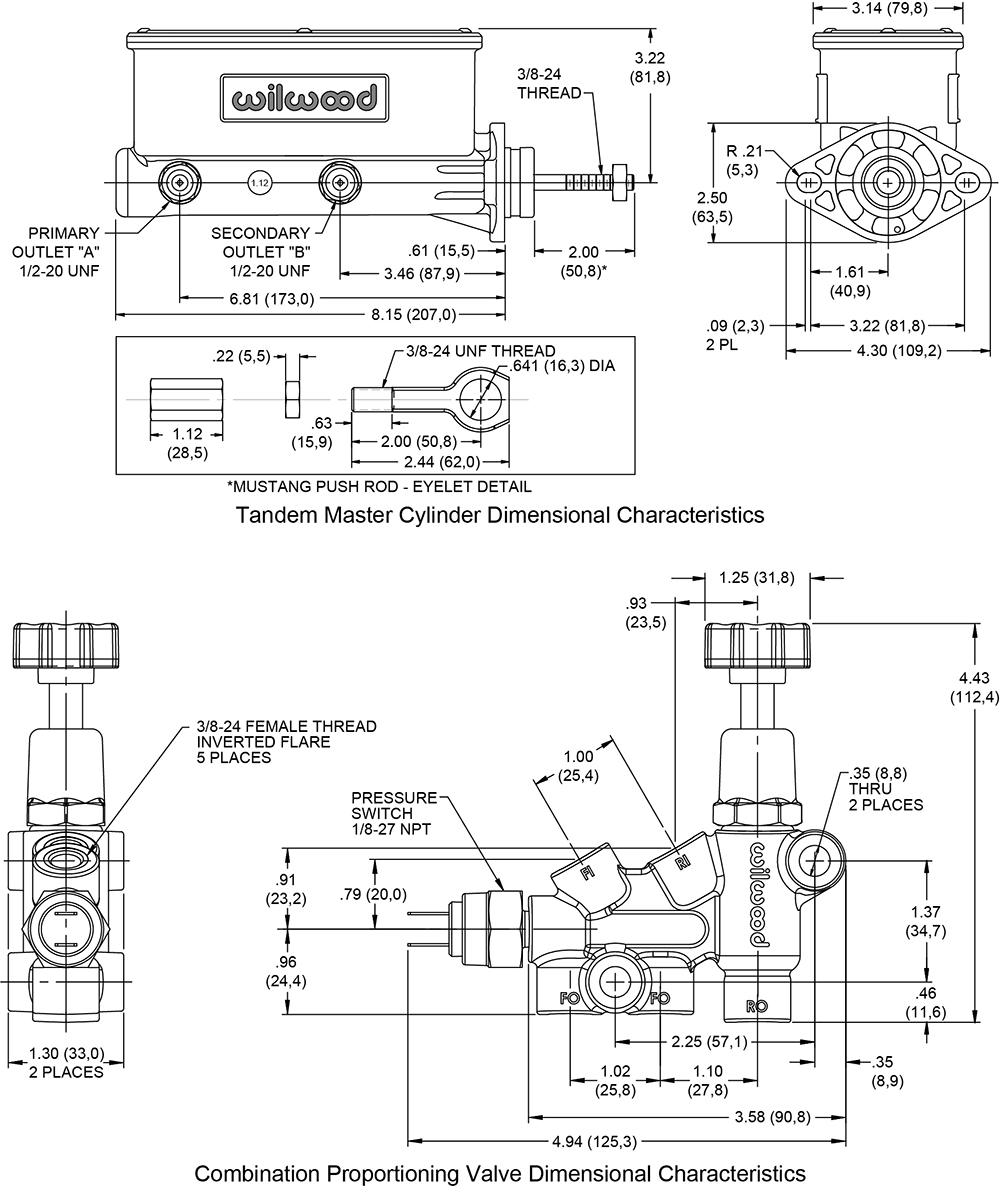 Wilwood Aluminum Tandem M/C w/Bracket and Valve (Mustang) Drawing