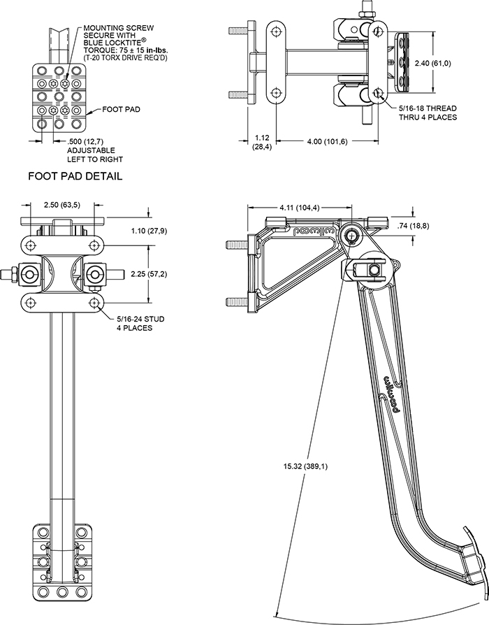 Swing Mount Brake Pedal Drawing