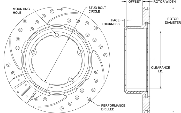 SRP Drilled Performance Rotor & Hat Drawing