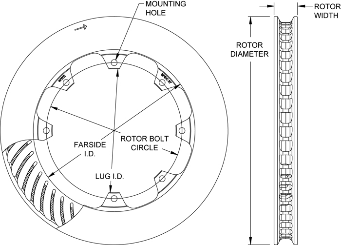 HD 48 Curved Vane Rotor Dimension Diagram