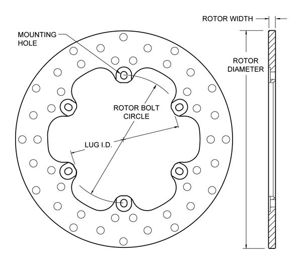 Drilled Steel Rotor Drawing