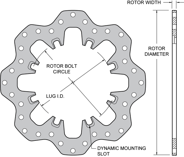 Drilled Steel Scalloped Dynamic Mount Rotor Dimension Diagram