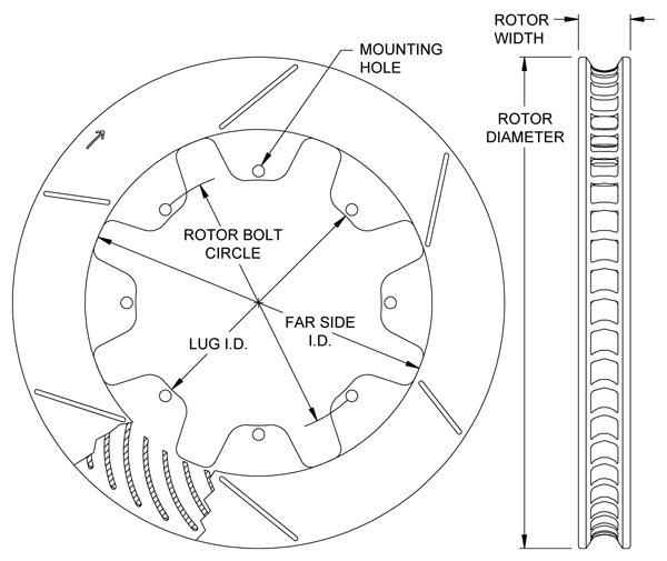 GT 36 Curved Vane Rotor Dimension Diagram