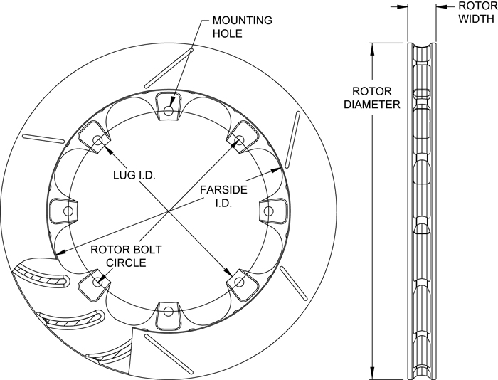 ULGT 16 Curved Vane Rotor Dimension Diagram