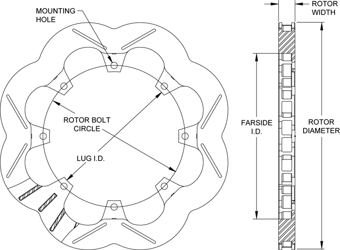 Super Alloy Scalloped Rotor Drawing