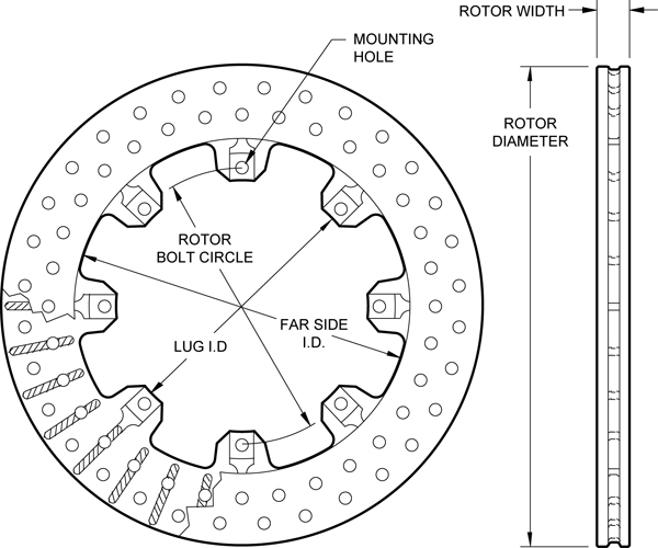 Ulltralite 32 Vane Rotor Drilled Dimension Diagram