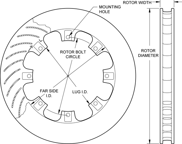 Ultralite 32 Curved Vane Rotor Dimension Diagram