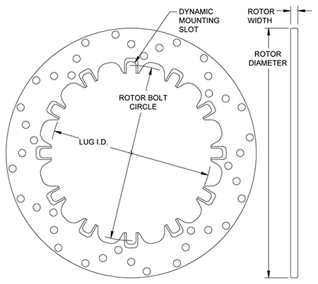 Drilled Steel Dynamic Mount Rotor Dimension Diagram