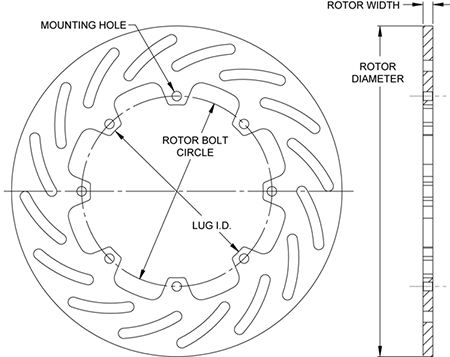 Super Alloy Slotted Rotor Dimension Diagram